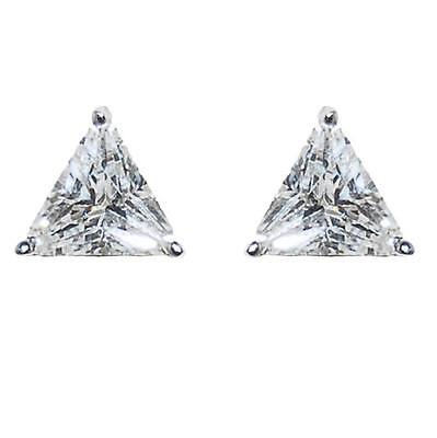 Triangle Solitaire Cubic Zirconia CZ Rhodium Stud Earrings-6mm