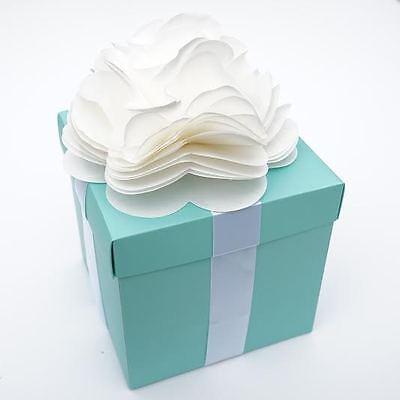 Large Robin Egg Blue & White Ribbon with Flower Gift Box