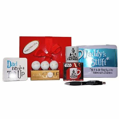 Father's Day Gift Box Star Wars Mini Mug, Coaster, Stuff Tin, Lindt Golf Balls - Father's Day Stuff