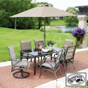 NEW HAMPTON BAY 8PC PATIO SET HDCN16100 135658965 VALLEY STREAM 6 CHAIRS, TABLE AND UMBRELLA SWIVEL CHAIR TABLES DINI...