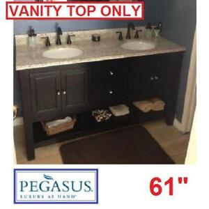 """NEW PEGASUS 61"""" GRANITE VANITY TOP 62992 142576810 GOLDEN HILL DOUBLE BASIN 8"""" FAUCET SPREAD VANITIES CABINET CABINET..."""