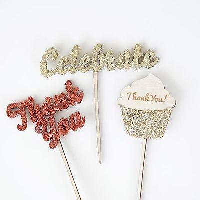 12 Glitter Thank You Celebrate Cupcake Picks Birthday Wedding Shower Topper