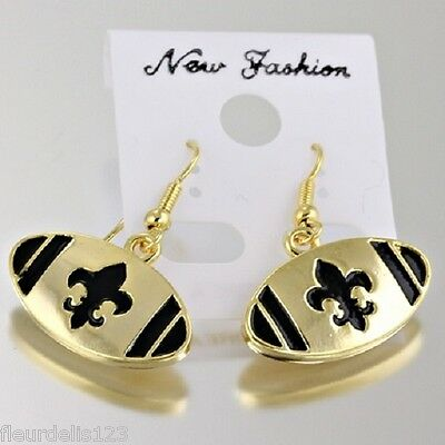 Gold & Black Enamel Fleur de lis New Orleans Saints Football Hook Earrings