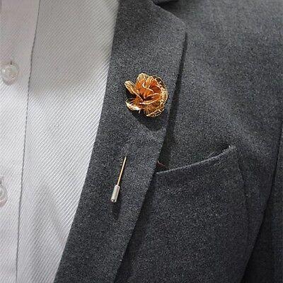(Rose Flower Lapel Pin Gold Metal Men Women Wedding Favors suit pin Brooch Pin)