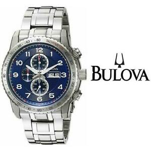 USED MENS BULOVA MARINE STAR WATCH 96C121 242780074 Sport Chronograph Blue Dial Stainless Steel JEWELLERY JEWELRY