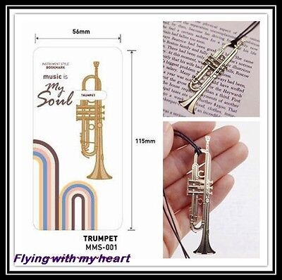 (Trumpet Instrument Gold-plated Stainless Metal Music Art Bookmark - Perfect Gift)