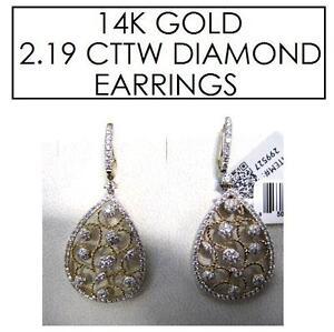 NEW* STAMPED 14K DIAMOND EARRINGS JEWELLERY - JEWELRY - 14K GOLD - 2.19 CTTW 102625632