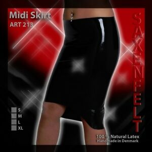 New, Latex Midi Skirt - Black - Large, X-Large