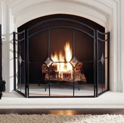 Fireplace Screen Mesh Three Panel Mesh Decorative Wide Arched Fire Screen -