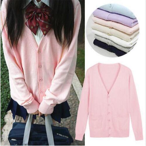 Japanese Long Sleeve V-neck Cardigan Sweaters Knitwear School Uniform Women Coat