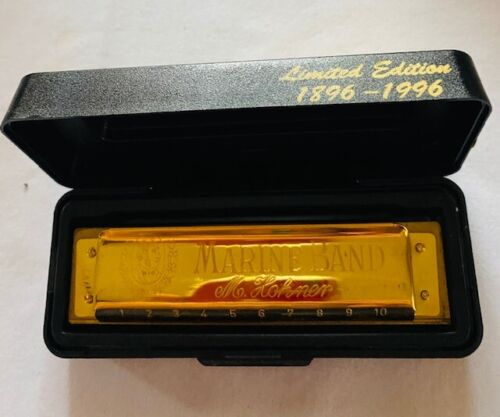 Limited Edition Gold Plated Hohner Marine Band Harmonica 1896 Key C-STUNNING