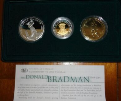 2001 Sir Don Bradman Commemorative set of three Royal Australian Gunn Palmerston Area Preview