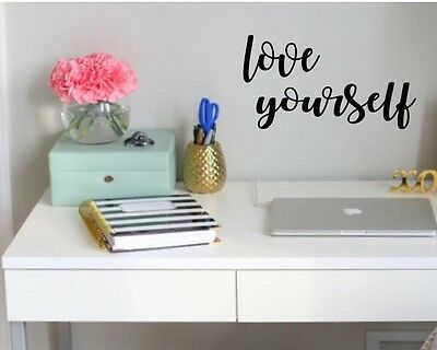 Love Yourself Vinyl Wall Art Decal Sticker Decor Lettering Inspirational Quote