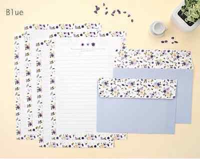 Letter Writing Set - Lovely Flower Pattern 4 Writing Papers & 2 Envelopes Letter Set / Blue
