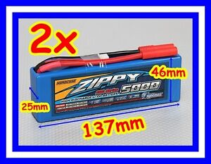 2x 5000mah 2s 20C 30C 7.4v Lipo Hardcase 1/10 2S1P Li-po Battery Hard Case Zippy