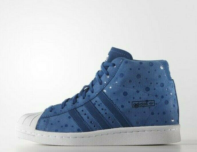 ADIDAS ORIGINALS WOMENS SUPERSTAR UP W S81379 Blue Suede Dot
