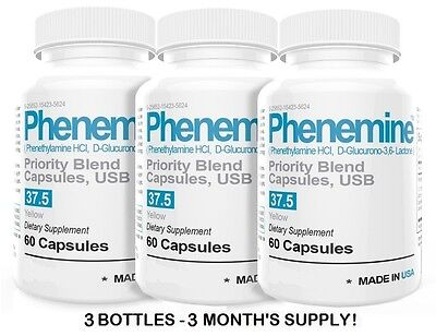 3 Phenemine Slimming Adipex Best Diet Pills Appetite Suppressant Supplement 37.5