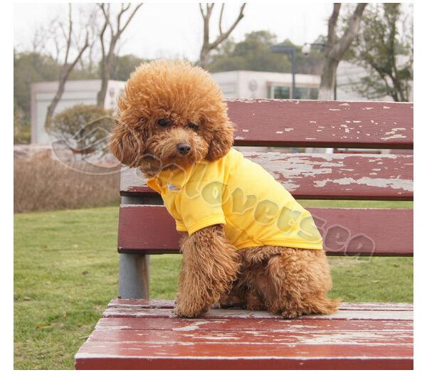 Pet Dog Clothes Apparel Cute Polo T Shirt 100% Cotton