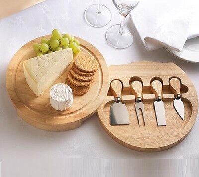 CHEESE BOARD SET WITH 4 KNIVES WOODEN SLIDE OUT SERVING SET