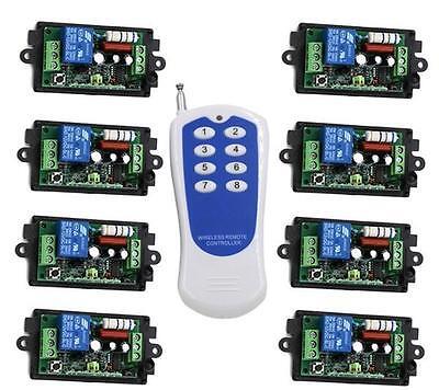 AC 110V 220V RF Wireless Remote Control Switch System 8CH 1xTransmitter+Receiver