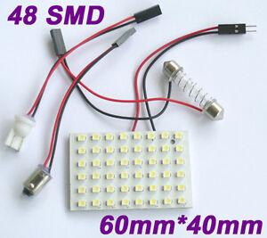 White-Light-Panel-48-SMD-LED-Bulb-T10-Festoon-Dome-Bulb-BA9S-12V-DC-Adapter-UK