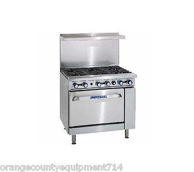 New 36 6 Burner Gas Range Conventional Oven Imperial Ir-6 4572 Restaurant