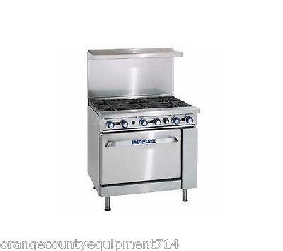 New 36 6 Burner Gas Range Convection Oven Imperial Ir-6-c 4574 Restaurant