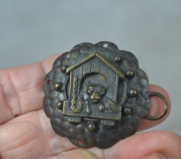 "antique cape hook buckle clasp  dog/house 3.5"" Victorian Edwardian original rare"