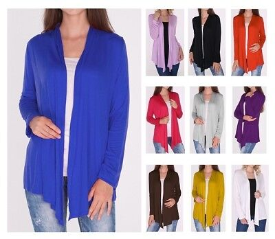 Classic Open Front Draped Cardigan Top Shirt Sweater Career Office SML/Plus Size