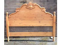 Beautiful carved pine headboard for double bed.