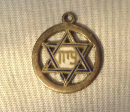 VINTAGE STERLING SILVER AND ENAMEL STAR OF DAVID NECKLACE CHARM