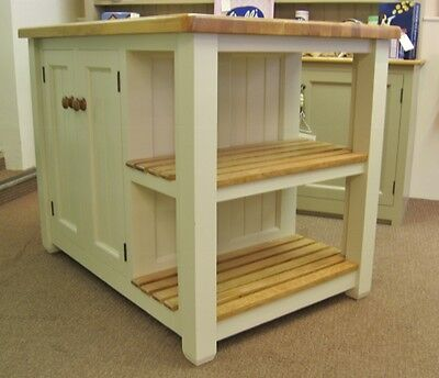 Murdoch Troon Freestanding Painted Pine Kitchen Island Unit Oak Top
