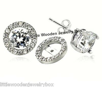 4ct. Solid Sterling Silver Round Circle Diamond cut Jacket stud Womens Earrings