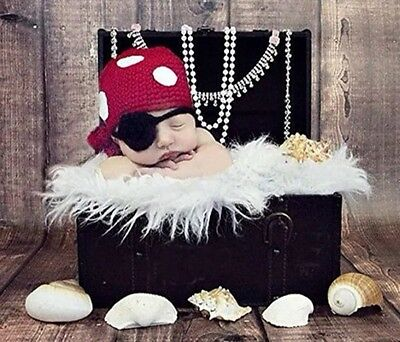 Newborn Baby Photography Prop Costume Crochet Knitted Pirate Hat Caps Outfits - Newborn Pirate Costume