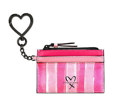 Victorias Secret Signature Iconic Stripes Id Credit Card Holder Keychain Nwt