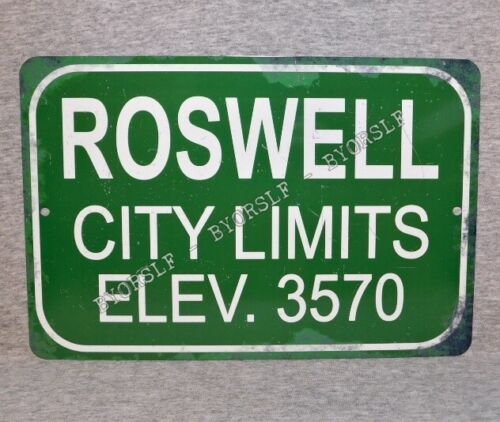 Metal Sign ROSWELL New Mexico city limits UFO flying saucer crash incident disc