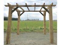 new ( 3m x 3m ) wooden pergola car port hot tub bbq shelter