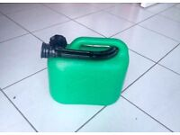 Two plastic 5 litre petrol / diesel fuel bottle / can container
