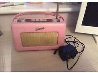 Roberts pink retro radio