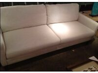 3-SEATER, LIGHT OATMEAL COLOUR, FABRIC SOFA, IN BEAUTIFUL CONDITION, FOR SALE