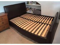 Chocolate Brown Faux Leather Sleigh Bed Frame - King Size