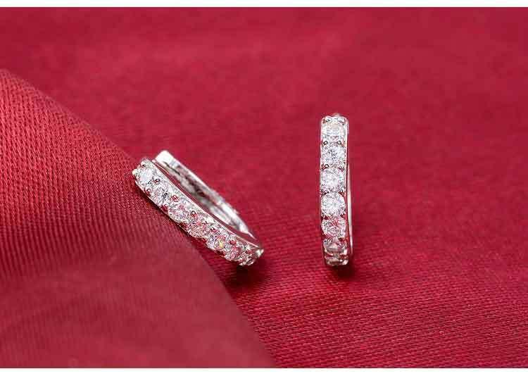 14K White Gold Over 1.50Ct Round Cut D/VVS1 Diamond Women's Hoop/Huggie Earrings