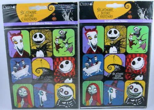 Vintage NIGHTMARE BEFORE CHRISTMAS Stickers 2-36 packs Sealed by CLEO