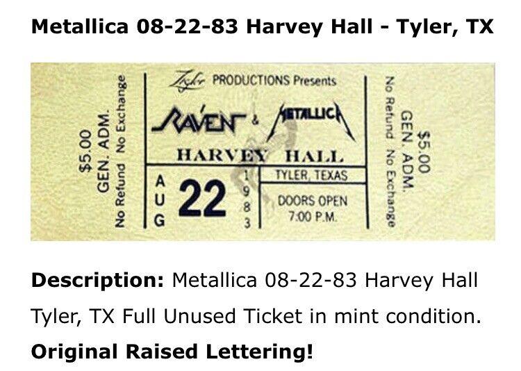 METALLICA RAVEN 1983 Tour FULL UNUSED TICKET RARE! MINT CONCERT PHOTOS