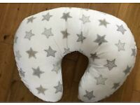 Large nursing pillow with machine washable cover grey star