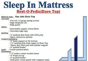 "65% OFF Until September 18, 2016-- Rest-O-Pedic 4"" Box Spring &Mattresses Starting at $209.65+HST."