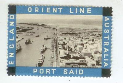 C1930s Orient Steam Ship Line   England Port Said Australia   Label Stamp