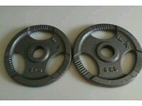 Pair of 5kg Cast Iron Tri-grip Plates, Olympic size