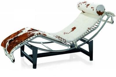 Le Corbusier Genuine Ponyskin top grain leather Chaise Lounge Chair #1185  Corbusier Chaise Lounge Chair