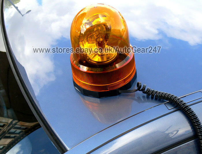 Emergency Flashing Revolving Orange Amber Beacon Light Ebay